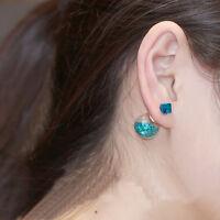 Hot Women Lady Fashion Elegant Flower Rhinestone Glass Ear Stud Earrings