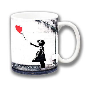 Banksy Art 'There is Always Hope' Coffee Mug 10oz Ceramic Girl with Red Balloon