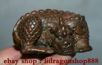 "2,4 ""Chinois rouge bronze feng shui animal pixiu bête licorne chanceux statue"