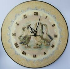 Handmade Round Wall Mantle Clock Geese Vintage Shabby