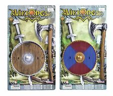 Kids Viking Weapon Armour Shield Sword Axe Fancy Dress Accessory Set Medieval