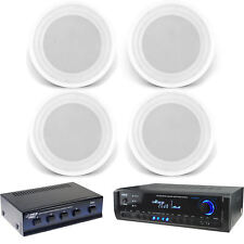 "In-Ceiling 8"" 150W Speakers, USB Bluetooth Pyle Home Receiver, Speaker Selector"