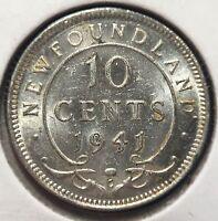 1941C CANADA - NEWFOUNDLAND 10 CENTS