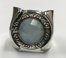 Israel HL 925 Sterling Silver Floral Repousse Genuine Aquamarine Statement Ring