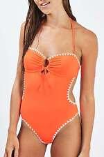 Topshop Bright Orange Blanket Stitch Swimsuit Swimwear UK 10 EURO 38 US 6 BNWT