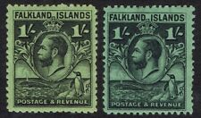 FALKLAND ISLANDS 1929 KGV WHALE AND PENGUIN 1/- BOTH SHADES