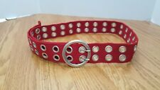 "Red Belt Silver Grommets Adjustable To 43""  Rockabilly Retro Cosplay Unisex"