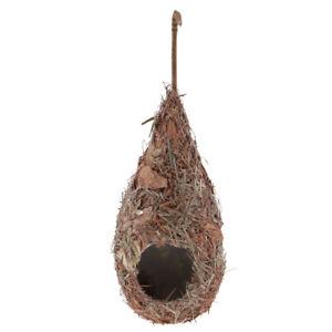 Birdhouse Bird Nest Breeding Box Wild Grass Canary Finch Budgie Macaws House  #E