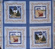 "34"" Fabric Panel - Springs CP34984 By the Sea Lighthouse Beach Pillowcase Blocks"