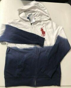 Polo Ralph Lauren Boys Sz L (14-16) Dip Dye USA White Big Pony Full Zip Hoodie
