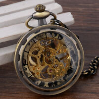 Luxury Steampunk Mechanical Pendant Watch Open Face Retro Skeleton Pocket Watch