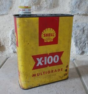 Vintage France french oil can tin SHELL X-100 petroleum auto old 2 L yellow