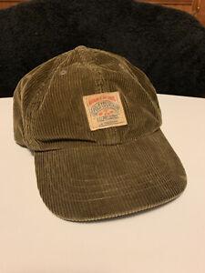 Vintage Polo Ralph Lauren Corduroy Country Sportsman Leather Strapback Hat Cap