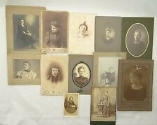 LOT OF 12 PRE-1900 PHOTOGRAPHS ~ ANTIQUE PHOTOS ~ GIRL / WOMAN PORTRAITS~Cabinet
