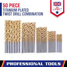 50-Piece Drill Bits Set Titanium Coated HSS High Speed Steel 1/1.5/2/2.5/3mm