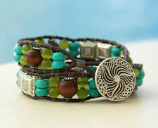 Dark Brown Leather Double Wrap Bracelet Tibetan Silver Turquoise Brown  7.5""