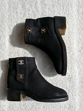 CHANEL Sueded Nubuck 36 CC Turnlock Ankle Boots Shoes Booties Read Dsc