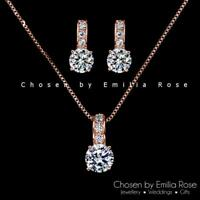 Ladys Rose Gold Cubic Zirconia Crystal Gift Set Necklace Earrings Jewelry Bridal