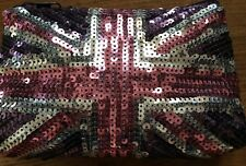 Next new sequin union jack clutch bag, costmetic bag