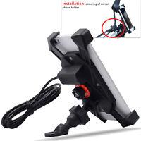 5V 2A Motorcycle ATV UTV USB Charger Handlebar Mount Holder For Cell Phone GPS