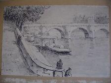"""tableau. Léon Lang. peintre Alsacien. Fusain et encre de Chine """" Bords de Seine"""""""