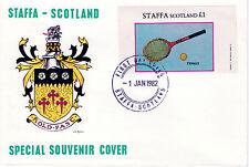 GB Locals - Staffa 3819 - 1982 SPORTS - TENNIS souvenir sheet  on FDC