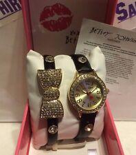 Betsey Johnson Ladies Black Leather Bowtie Glitz Bracelet Watch NEW!  BJ00536-24