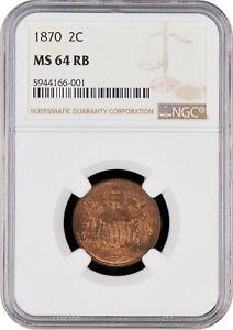 1870 Shield 2c - NGC MS 64 RB