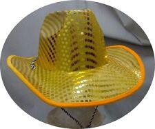 Chapeau de cow-boy pailleté jaune brillant or 700045 deguisement costume show