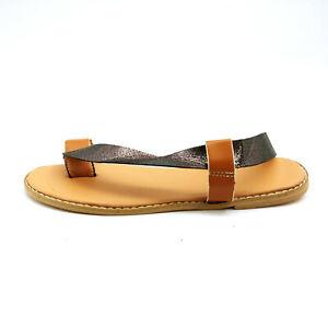 Womens Asymmetrical Slingback Sandals Black Metallic EUR 40 New