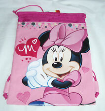 Pink Disney Minnie Mouse Drawstring Backpack Girl's School Sling Tote Gym Bag