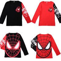 Kids Boys Spiderman Superhero T-Shirt Long Sleeve Crew Neck Casual Tops Shirts