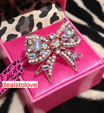 NWT Rare Betsey Johnson LARGE Crystal PEARL BOW two finger Stretch Ring Rosegold