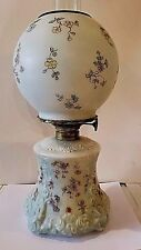 """Antique Victorian GWTW Oil Table Lamp Raised Shell & Scroll Design 16""""T"""