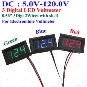 DC5V-120V 3 Digital LED Voltage Meter Voltmeter 36V 48V 60V 72V 96V Car Battery
