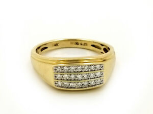 Real 14k Yellow Gold with 0.25 CTW Diamond Mens Ring
