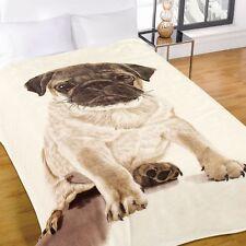 Luxury Warm Soft Large Throw Faux Fur Sofa Bed Blanket Pug 150cm X 200cm