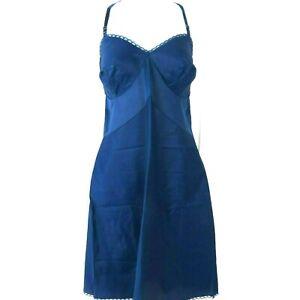 Vintage Vassarette Hollywood Royal Blue Dress Slip M Nylon Taffeta Pin Up Glam