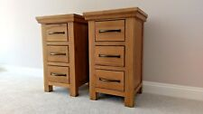 Matching Pair Oak Bedside Cabinets - Set of 2 Modern Bedroom Nightstand Tables