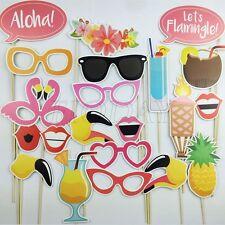 21pcs Photo Booth Props Flamingo Tropical Hawaiian Birthday Wedding Party Decor