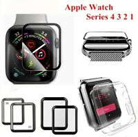 2Pcs 3D Full Cover Tempered Glass Screen Protector For Apple Watch 38/42/40/44mm