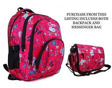 Womens Girls Pink Butterfly Travel Backpack School College Messenger Satchel Bag
