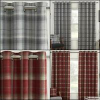 CHECKED Ready Made Curtains BLACKOUT Thermal LINED EYELET Ring Top Red Grey