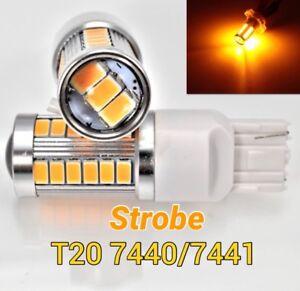 Strobe Flash T20 7440 w21w 992 SMD Amber LED Bulb Rear Turn Signal Light M1 MAR