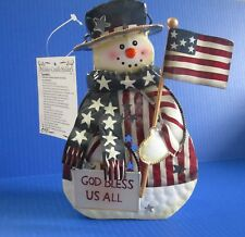 Winter Snowman Metal Tea Light Candle Holder Lantern With God Bless Us All Sign