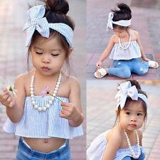 nacidos bebe chicas raya de hombro blusa Tops + arco venda Set 2Pcs