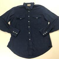 Sheplers Men's Size 16 - 35 Navy Blue Velvet Pearl Snap Button Down Shirt Vtg
