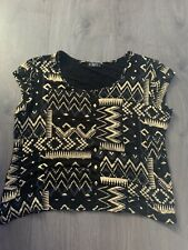 Stretchy Black & Gold Top Size 16