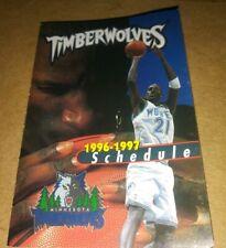 1996-97 Minnesota Timberwolves Pocket Schedule Kevin Garnett (Garnett's 1st)