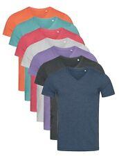 Pour Homme Uni Coton Mélange Col En V T-shirt S-XXL